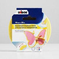 Профессиональная малярная лента UNIBOB для изогнутых поверхностей 19мм х 25м желтая
