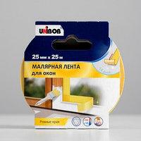 Профессиональная малярная лента UNIBOB для окон 25мм х 25м желтая
