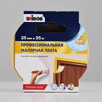 Профессиональная малярная лента UNIBOB для внутренних работ 25мм х 25м желтая
