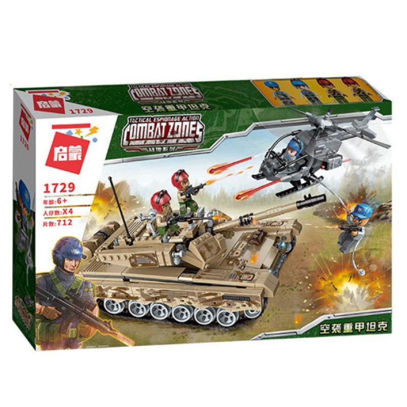 Конструктор Brick/Qman 1729 Военный танк, вертолет, фигурки, 712 деталей