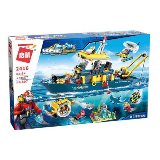 Конструктор Qman/Brick 2416 корабль, батискаф, фигурки, 807 деталей