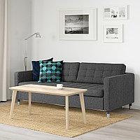 ЛАНДСКРУНА 3-местный диван-кровать, Гуннаред темно-серый/металл, фото 1