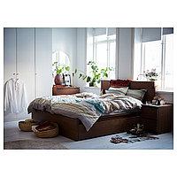 МАЛЬМ Высокий каркас кровати/4 ящика, коричневая морилка ясеневый шпон, Леирсунд, 180x200 см, фото 1