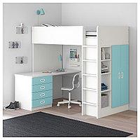 СТУВА / ФРИТИДС Кровать-чердак/4 ящика/2 дверцы, белый, голубой, 207x99x182 см, фото 1