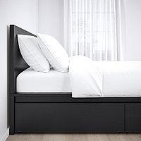 МАЛЬМ Каркас кровати+2 кроватных ящика, черно-коричневый, Лонсет, 90x200 см