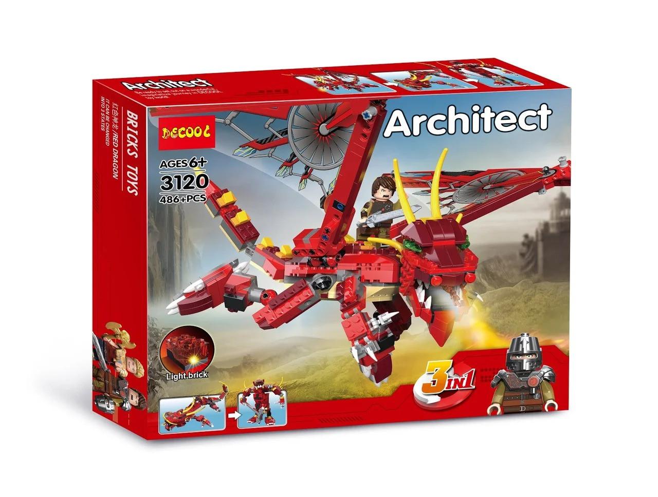 """Конструктор Decool 3120 Architect (аналог Lego Creator) """"Красный дракон 3 в 1"""" 486 деталей"""
