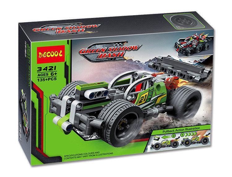 """Конструктор Decool 3421 (Аналог Lego Technic 42072) """"Зеленый гоночный автомобиль"""" 135 деталей"""