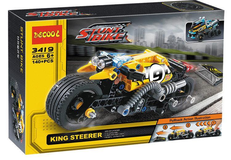 """Конструктор Decool 3419 (аналог Lego Technic 42058) """"Мотоцикл для трюков"""" 140 деталей"""