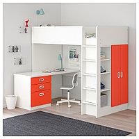 СТУВА / ФРИТИДС Кровать-чердак/3 ящика/2 дверцы, белый, красный, 207x99x182 см