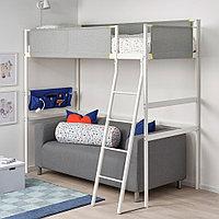 ВИТВАЛ Каркас кровати-чердака, белый, светло-серый, 90x200 см