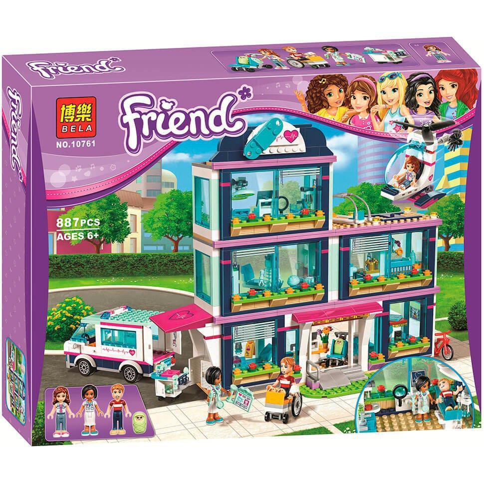 "Конструктор Bela 10761 ""Клиника Хартлейк-Сити"" (аналог LEGO Friends 41318), 887 деталей"