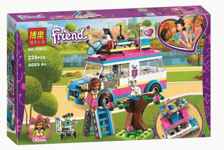 """Конструктор Bela Friends 10853 """"Передвижная научная лаборатория Оливии"""" (аналог Lego Friends 41333), 228 деталей"""