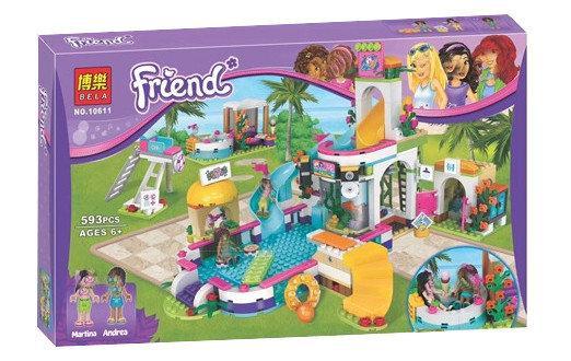 "Конструктор Bela 10611 ""Летний бассейн Хартлэйк"" (аналог Lego Friends 41313), 593 детали"