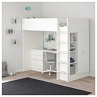 СТУВА / ФРИТИДС Кровать-чердак/3 ящика/2 дверцы, белый, белый, 207x99x182 см, фото 1