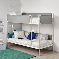ВИТВАЛ Каркас 2-ярусной кровати, белый, светло-серый, 90x200 см, фото 1
