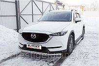Защита переднего бампера d57+d42 двойная Mazda CX-5 2017-