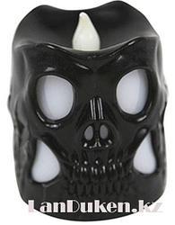 Светящаяся LED Свеча в форме черепа на Хэллоуин 6.4 см Чёрный