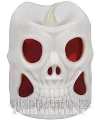 Светящаяся LED Свеча в форме черепа на Хэллоуин 6.4 см Белый
