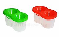 Стакан непроливайка для рисования, двойной (зеленый и красный) в ассортименте