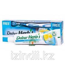 Зубная паста Соль и Лимон (Salt & Lemon DABUR HERB'L) 150г + зубная щетка