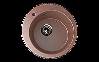 Мойка кухонная врезная ECO Stone 495 mm круглая с отверстие под смеситель