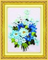 """Набор для вышивания лентами """"Букет из голубых цветов""""."""