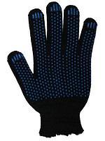 Перчатки с ПВХ 6-нитей (10) Точка черные