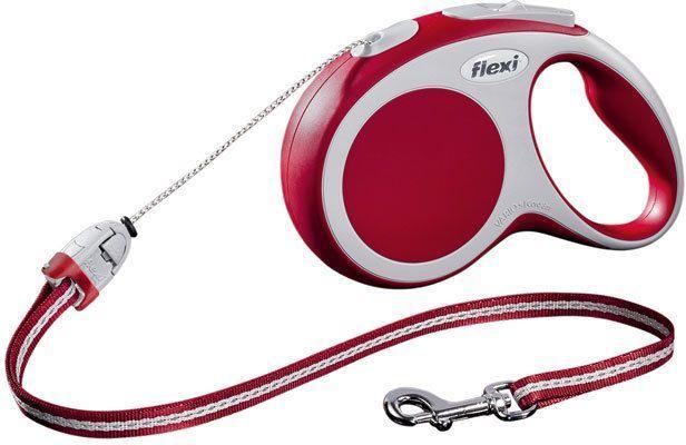 Тросовый поводок - рулетка Flexi Vario для животных до 8 кг (Красный) - 3 м