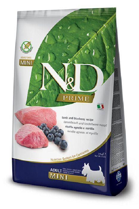 Беззерновой корм Farmina N&D для взрослых собак, мелких пород (Ягненок с Черникой) - 2,5 кг