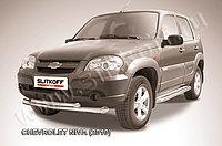 Защита переднего бампера d76+d57 двойная Chevrolet Niva 2010-