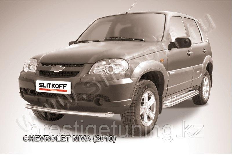 Защита переднего бампера d57 Chevrolet Niva 2010-