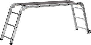 Подмости СИБИН ПРП-36 алюминиевые, 3 x 6 x 3 ступени, складные с колесами, 38845