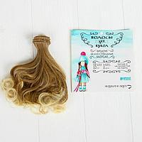 Волосы - тресс для кукол 'Завитки' длина волос 15 см, ширина 100 см, №LSA051
