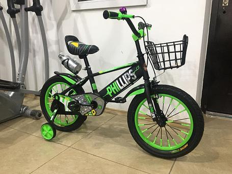 Велосипед Phillips на 4-5 лет с холостым ходом рама 16 (цвет-зеленый), фото 2