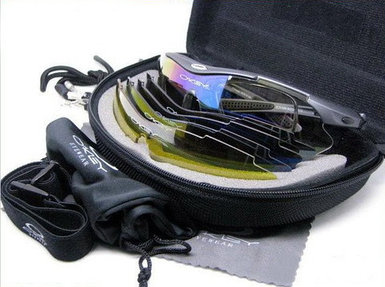 Очки спортивные «Oakley» в футляре [комплект 5 пар стекол с поляризацией]