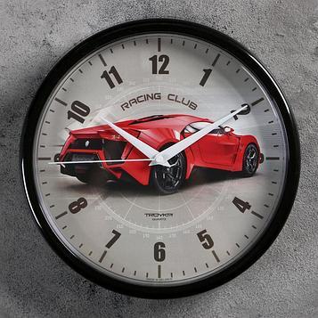"""Часы настенные """"Гоночный автомобиль"""", d=22.5 см, красный"""