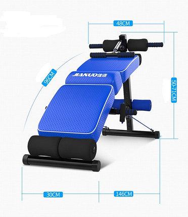 Фитнес скамья для пресса Jianuo до 120 кг с эспандерами, фото 2