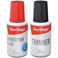 Berlingo Корректирующая жидкость (штрих) + разбавитель Berlingo, быстросохнущая, с кисточкой, 2*20 мл.