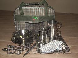 Набор туристической посуды, портфель на 2 персоны Люкс, нержавеющая сталь