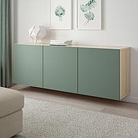 БЕСТО Комбинация настенных шкафов, под беленый дуб, Нотвикен серо-зеленый, 180x42x64 см, фото 1