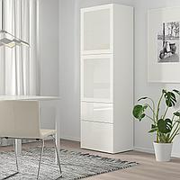 БЕСТО Комбинация д/хранения+стекл дверц, белый, Сельсвикен глянцевый/белый матовое стекло, 60x42x193 см, фото 1