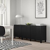 БЕСТО Комбинация для хранения с дверцами, черно-коричневый, тиммер/стуббар черный, 180x42x74 см, фото 1