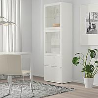 БЕСТО Комбинация д/хранения+стекл дверц, белый, Лаппвикен белый прозрачное стекло, 60x42x193 см, фото 1