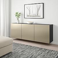 БЕСТО Комбинация настенных шкафов, черно-коричневый, риксвикен под светлую бронзу, 180x42x64 см, фото 1