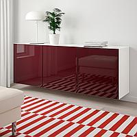 БЕСТО Комбинация настенных шкафов, белый Сельсвикен, глянцевый темный красно-коричневый, 180x42x64 см, фото 1