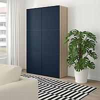 БЕСТО Комбинация для хранения с дверцами, под беленый дуб, Нотвикен синий, 120x42x192 см, фото 1