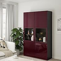 БЕСТО Комбинация д/хранения+стекл дверц, черно-коричневый Сельсвикен, темный красно-коричневый  120x42x192 см, фото 1