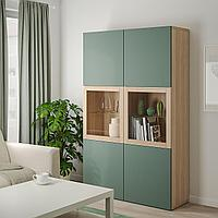 БЕСТО Комбинация д/хранения+стекл дверц, под беленый дуб, Нотвикен серо-зеленый  120x42x192 см, фото 1