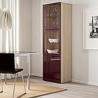 БЕСТО Комбинация д/хранения+стекл дверц, под беленый дуб Сельсвикен, темный красно-коричневый 60x42x193 см, фото 1