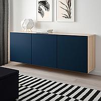 БЕСТО Комбинация настенных шкафов, под беленый дуб, Нотвикен синий, 180x42x64 см, фото 1